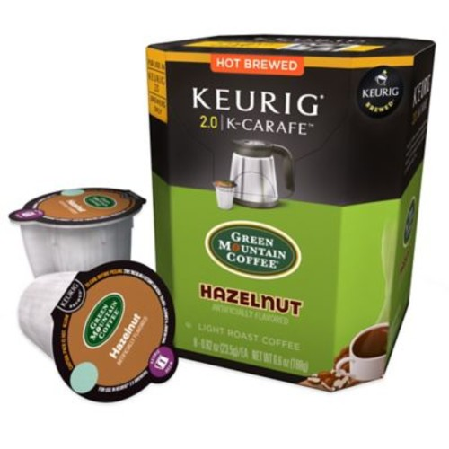 Keurig K-Carafe Pack 8-Count Green Mountain Coffee Hazelnut Light Roast Coffee