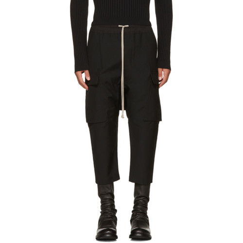 RICK OWENS Black Wool Drawstring Cropped Cargo Pants