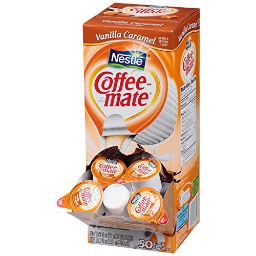 NESTLE COFFEE-MATE Coffee Creamer, Vanilla Caramel, 0.375oz liquid creamer singles, 50 Count [Vanilla Caramel, 50 Count]