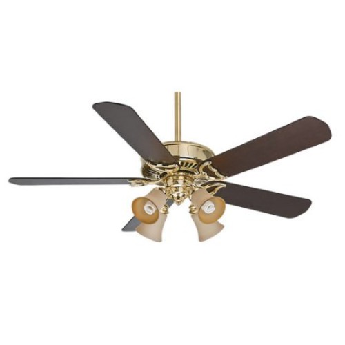 Casablanca 55061 54 in. Panama Gallery Bright Brass Ceiling Fan with Light and Remote