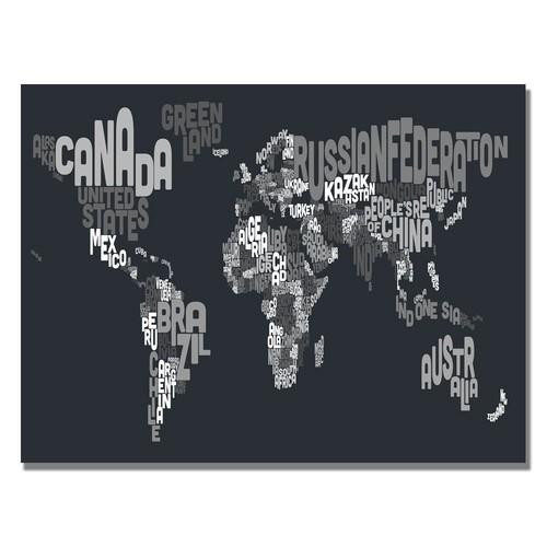 Trademark Global Michael Tompsett 'Font World Map VII' Canvas Art [Overall Dimensions : 18x24]