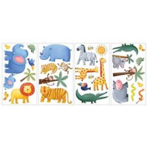 RoomMates 10 in. x 18 in. Jungle Adventure 29-Piece Peel and Stick Wall Decals