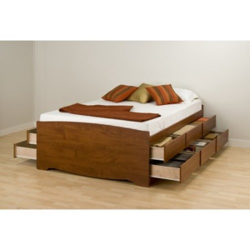 Prepac Monterey Cherry Tall Queen Platform Storage Bed