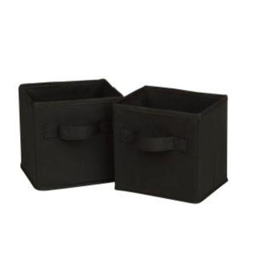 Honey-Can-Do 4.9 Qt. Mini Non-Woven Foldable Cube Bin Black (6-Pack)