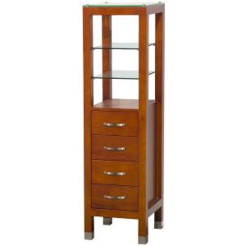 Wyndham Collection Tavello 16-1/4 in. W x 59-3/4 in. H x 16 in. D Bathroom Linen Storage Tower Cabinet in Cherry
