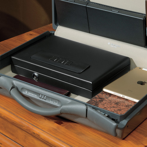 Stack-On 0.08 cu. ft. All Steel Portable Case with Biometric Lock, Matte Black