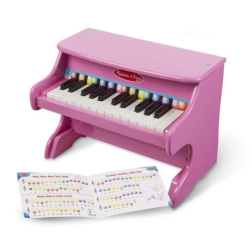 Melissa & Doug Learn-to-Play Pink Piano With 25 Keys and Color-Coded Songbook