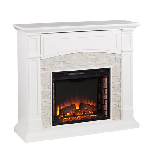 Southern Enterprises Conway 45.75 in. W Electric Media Fireplace in White with White Faux Stone