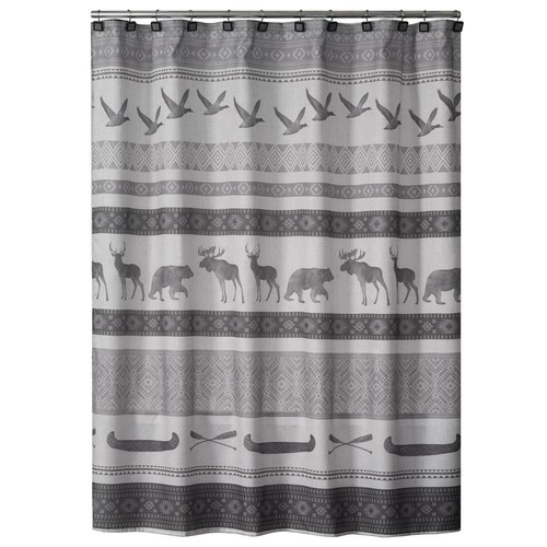 Saturday Knight 72 in. Gray Wilderness Calling Fabric Shower Curtain