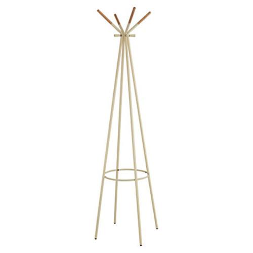 Safco 4-hook Coat Rack - 8 Hooks - for Coat, Garment, Jacket, Umbrella, Accessories - Wood, Steel, Steel - Cream - 1 Each