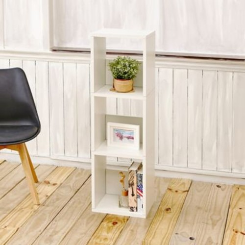 Varick Gallery Andrade Trio Eco 3-Shelf Narrow 45'' Cube Unit Bookcase; Aspen White