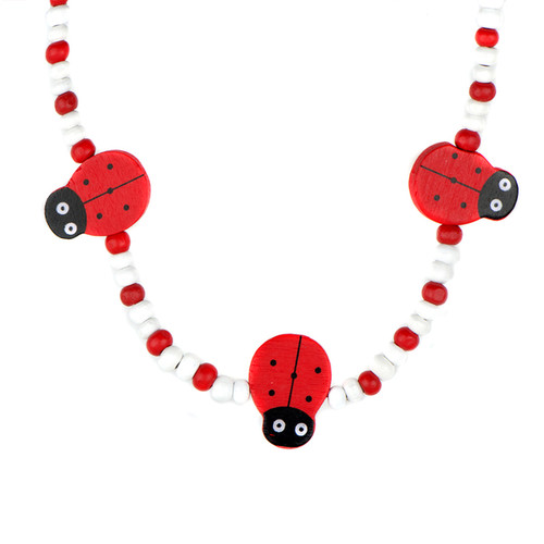 Red Wooden Lady Bug Jewelry Set - Red Wooden Lady Bug Jewelry Set