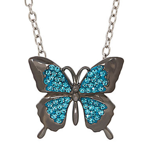 Animal Planet Australia Butterfly Crystal Sterling Silver Pendant Necklace