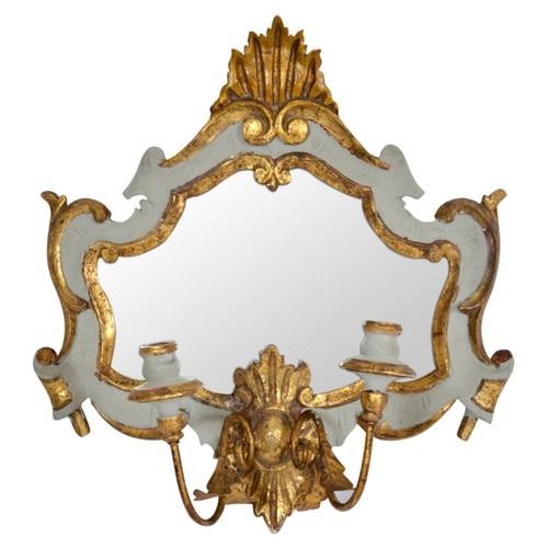 Italian Gray & Gilt Wall Mirror