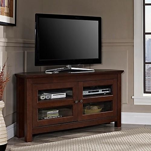 Walker Edison Corner TV Console in Brown