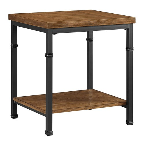 Linon Austin End Table, Black and Ash Veneer, 22 inches Tall