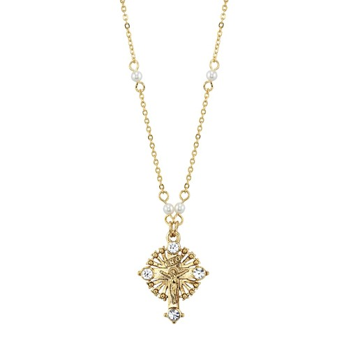 1928 14k Gold-Plated Crystal & Simulated Pearl Crucifix Pendant Necklace