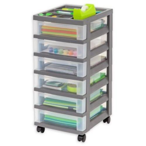 IRIS Medium 6-Drawer Storage Cart with Organizer Top in Grey