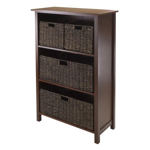 Winsome Granville 5-Piece Storage Shelf with 4-Foldable Baskets [Antique Walnut, 2 large chocolate baskets]