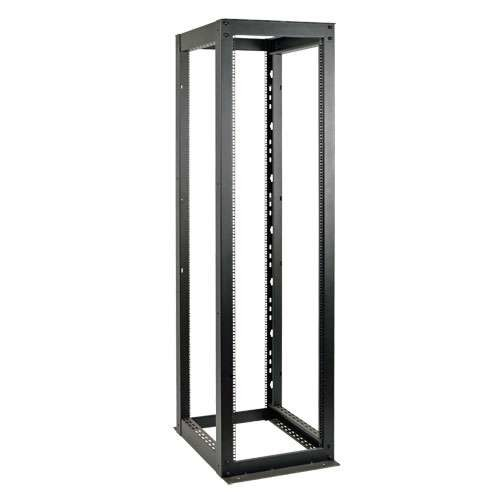Tripp Lite 58U SmartRack - Open Frame Rack, 58U, Heavy Duty, Black Steel With Square, Numbered Mounting Holes, Toolless Button Holes, 3000 lbs Capacity - SR4POST58HD