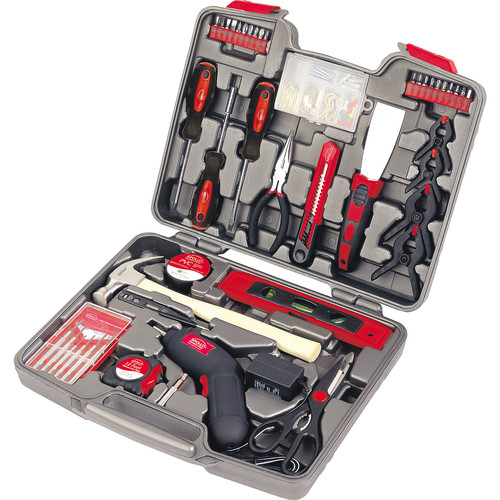 Apollo Tools 144 Piece Household Tool Kit with 4.8V Cordless Screwdriver