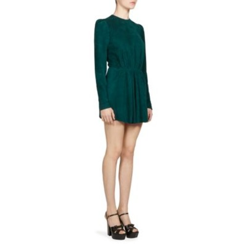 SAINT LAURENT Suede Puff Shoulder Mini Dress