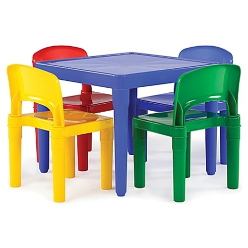 Tot Tutors Snap-Together 5-Piece Table and Chairs Set in Primary