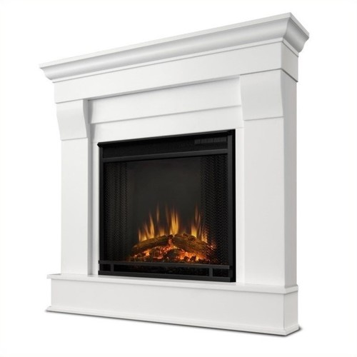 Real Flame Chateau 41 in. Corner Ventless Gel Fuel Fireplace in White