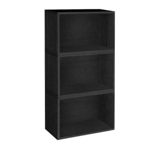 Way Basics Hillcrest Eco zBoard Tool Free Assembly Black Stackable Modular Open Bookcase