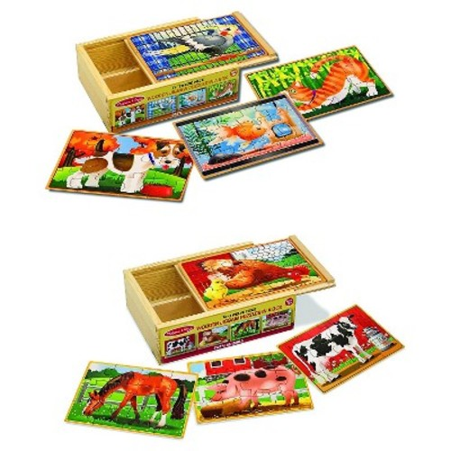 Melissa & Doug Animals 4-in-1 Wooden Jigsaw Puzzles Set - Pets and Farm