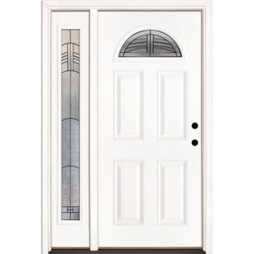 Feather River Doors 50.5 in. x 81.625 in. Rochester Patina Fan Lite Unfinished Smooth Left-Hand Fiberglass Prehung Front Door with Sidelite
