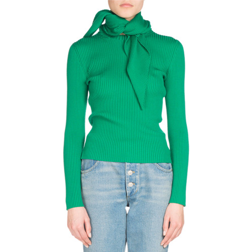 BALENCIAGA Ribbed Knit Scarf-Tie Sweater, Green