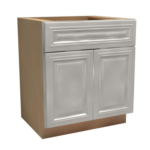 Home Decorators Collection Coventry Assembled 27x34.5x24 in. Double Door Base Kitchen Cabinet & Drawer in Pacific White