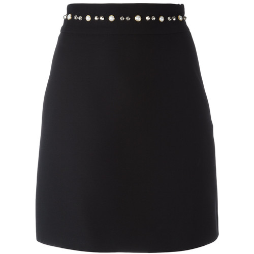 GUCCI Pearl And Stud Trim A-Line Skirt