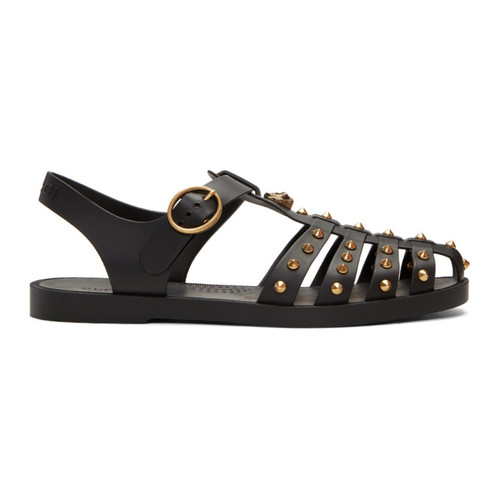 GUCCI Black Studded Rubber Sandals