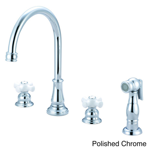 Pioneer Brentwood Series Double-handle Kitchen Widespread Faucet [option : PVD Brushed Nickel Finish]
