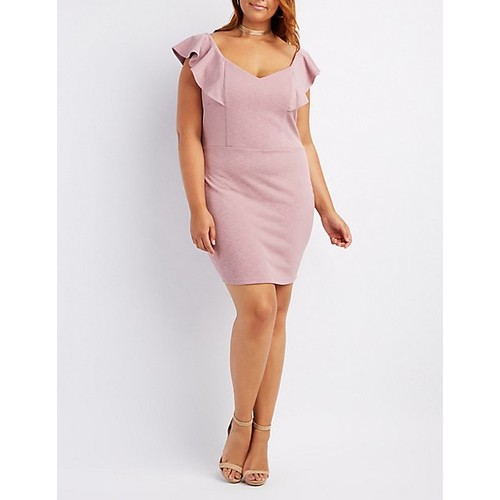 Plus Size Ruffle Off-The-Shoulder Bodycon Dress