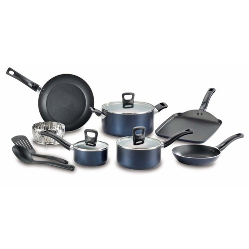 T-fal 12-Pc Banquet Stainless Steel Non-Stick Set - Blue