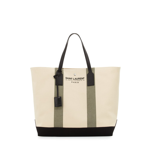 SAINT LAURENT Striped Beach Shopper Tote Bag, Olive Green/Khaki