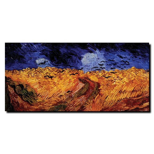 Trademark Global Vincent van Gogh 'Wheatfield with Crows' Canvas Art [Overall Dimensions : 24x47]