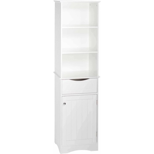 RiverRidge Home Ashland 16-1/2 in. W x 60 in. H Bathroom Linen Storage Tower Cabinet in White