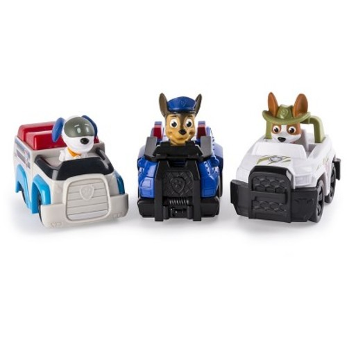 Paw Patrol Racers 3-Pack Vehicle Set, Chase, Robodog, Tracker