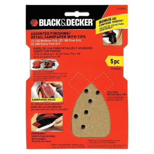 BLACK+DECKER Assorted Finishing Detail Sandpaper with Tips 5-ct.