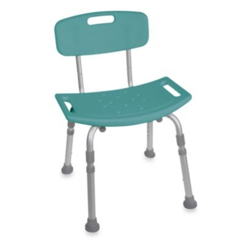 Drive Medical Bathroom Safety Shower Tub Bench Chair with Back in Teal