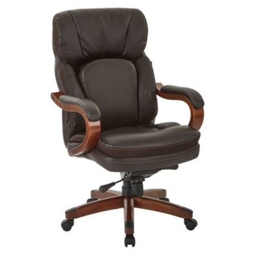 Inspired by Bassett Van Buren Espresso Bonded Leather Knee Tilt Executive Chair (BP-VANEX-EC1)