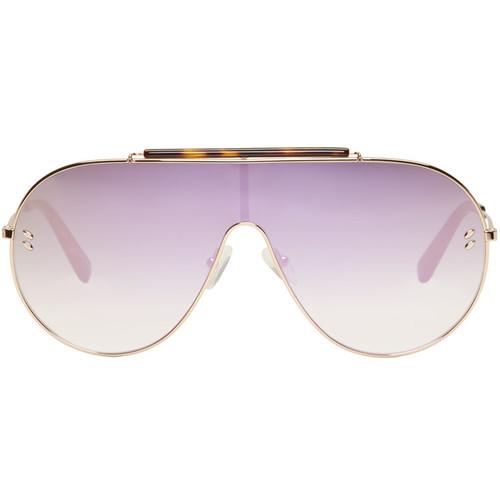 STELLA MCCARTNEY Rose Gold Oversized Shield Aviator Sunglasses