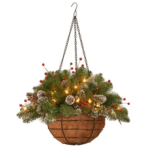 National Tree Company 20 in. Glittery Mountain Spruce Hanging Basket with Battery Operated Warm White LED Lights