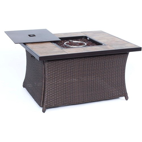 Hanover 9.8 in. Wicker Fire Pit Table in Brown with Porcelain Stone Tile-Top
