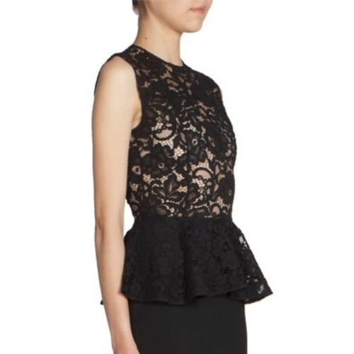 SAINT LAURENT Lace Top Peplum Dress