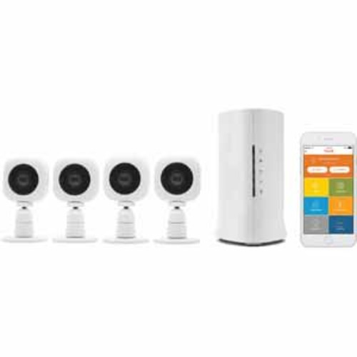 OPLINK Home8 Video-Verified Monitoring/Alarm System with Four (4) Cube HD Security Cameras, Wireless Security System